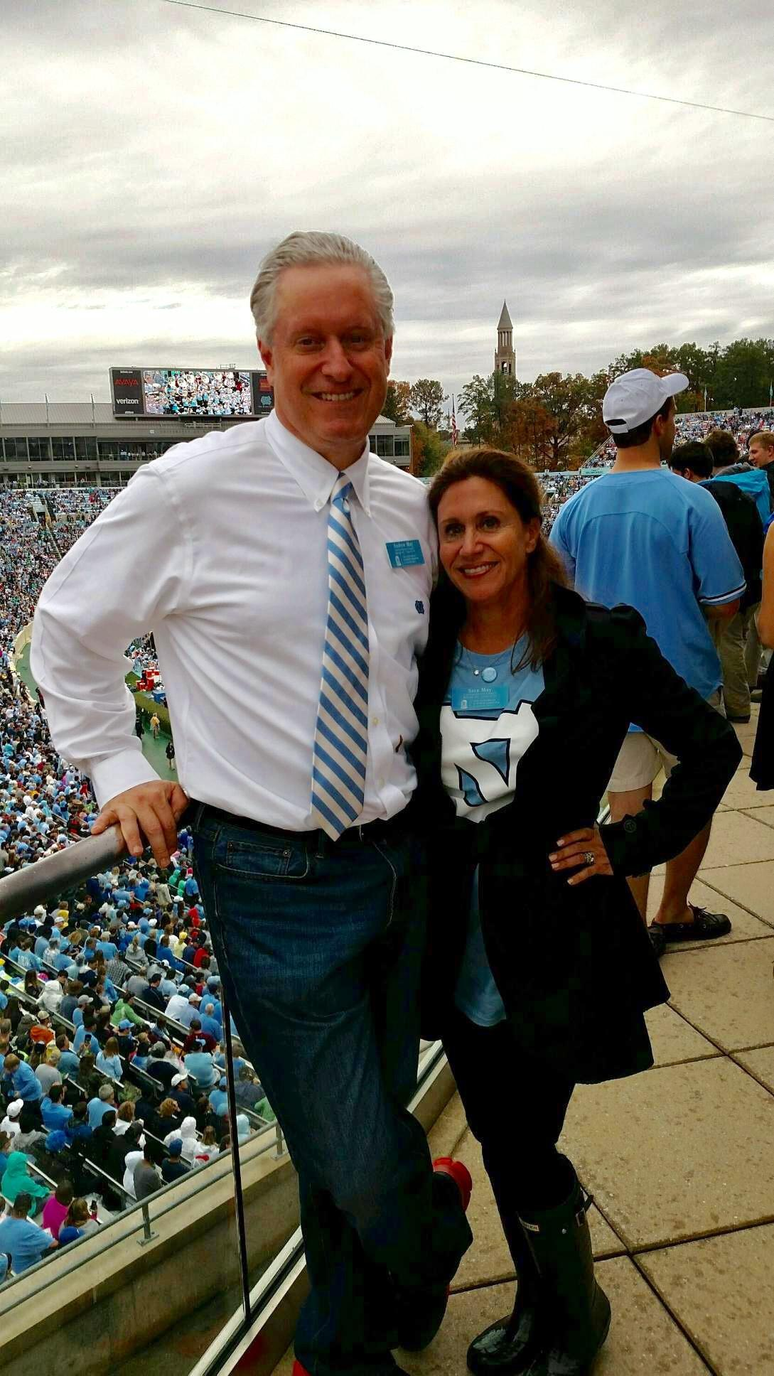 Andrew and Sara May, ata  football game last year, are the Parents Council National Chairs for 2017-2018.