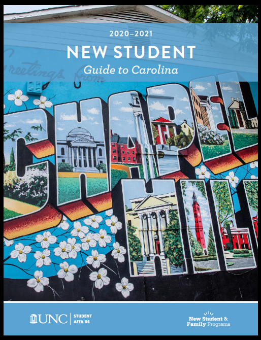 Welcome sign on new student guide cover
